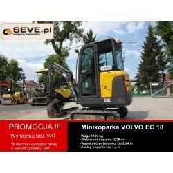 Promocja-wynajem minikoparki VOLVO EC 18