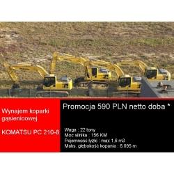 Promocja - wynajem koparki gąsienicowej Komatsu PC 210
